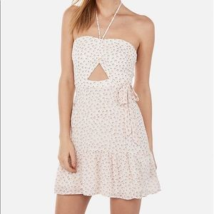 Express Halter Wrap Front Mini Dress In Pink Print